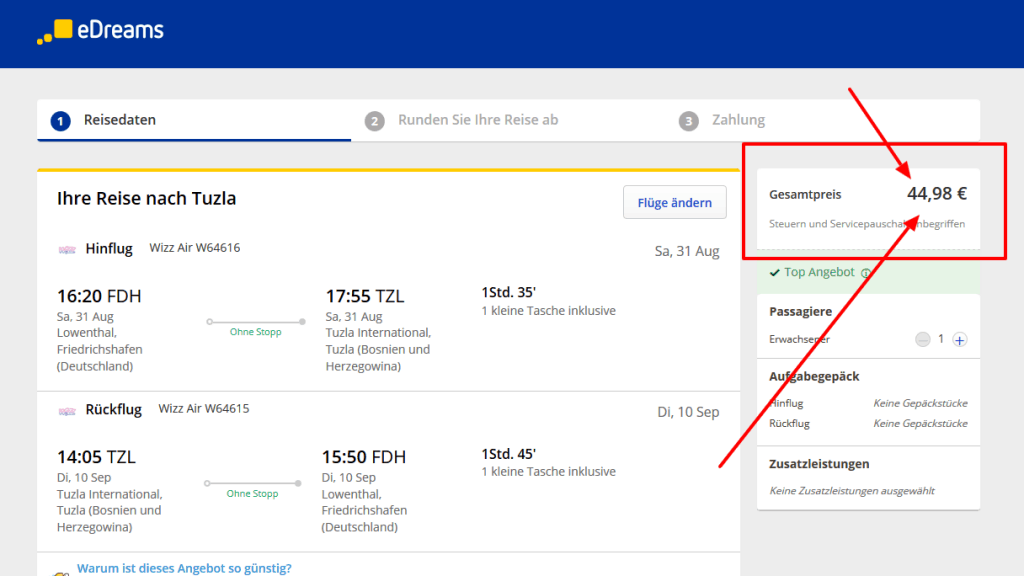 Screenshot Deal Flüge nach Bosnien und Herzegowina