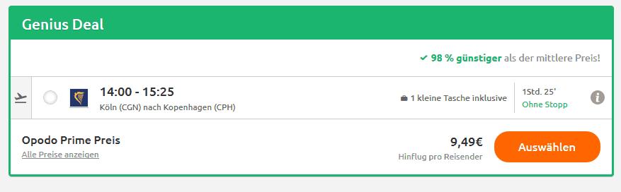 Screenshot Deal Flug Köln Kopenhagen - nur 9,49€ Flüge zum Sonderpeis