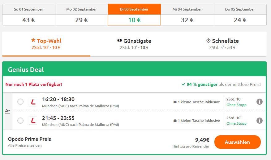 Screenshot Deal Flug München - Mallorca nur 9,45€ 94% billiger im September Mallorca Urlaub