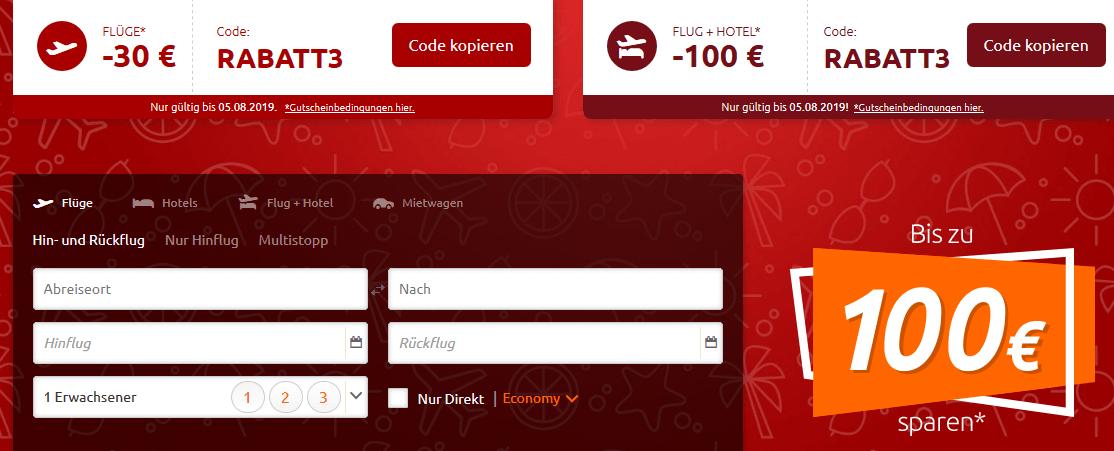 Screenshot Deal Flugrabatt bis zu 100,00€ - Sommer Sale bei Opodo Flug Deals