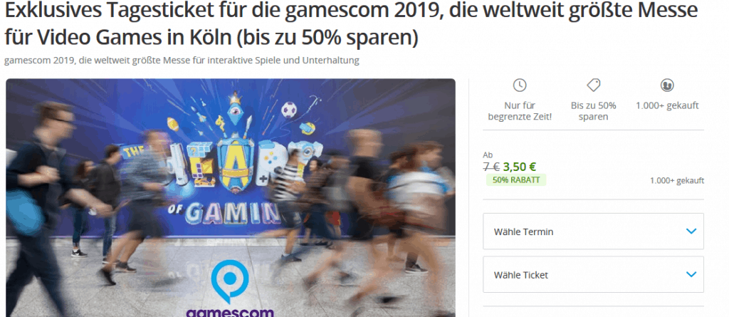 Screenshot Deal Gamescome Köln Tagesticket - nur 3,50€ Gaming Messe