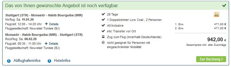 Screenshot Deal Langzeiturlaub Tunesien 4 - 28 Nächte nur 471,00€ All Inclusive