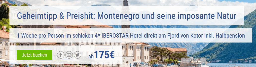 Screenshot Deal Montenegro Deal - eine Woche nur 175,00€ Halbpension im Iberostar