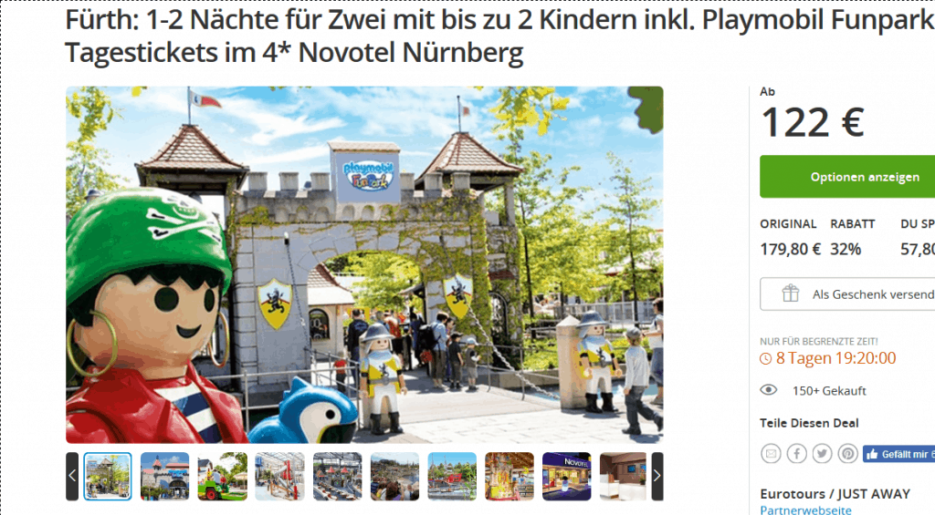 Screenshot Deal Playmobil Funpark 32% Billiger - Familie nur 122,00€ Tickets & Hotel