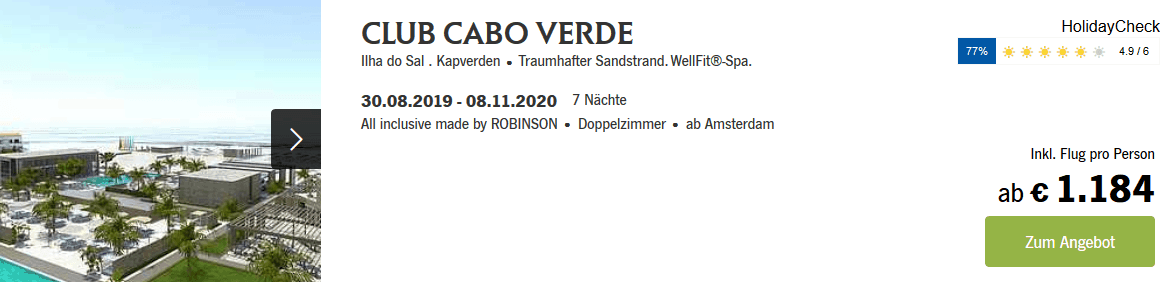 Screenshot Deal ROBINSON - 150,00€ Cashback auf Fernreiseclubs Fernreiseclubs