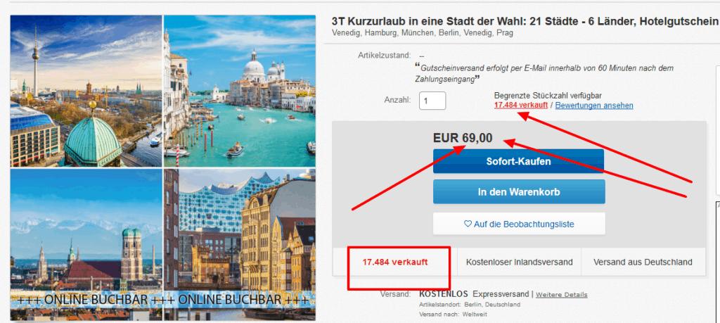 Screenshot Deal Städtereisen in A&O Hotels - nur 17,25€ die Nacht Hotelgutschein