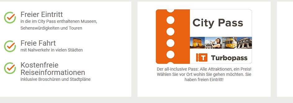 Screenshot Deal - hier günstig einkaufen City Pass für Städtereisen bei Turbopass - Geld & Zeit sparen