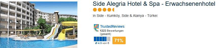 Side Algeria Hotel & Spa Erwachsenenhotel mit der Landeskategorie 4,5 Sterne