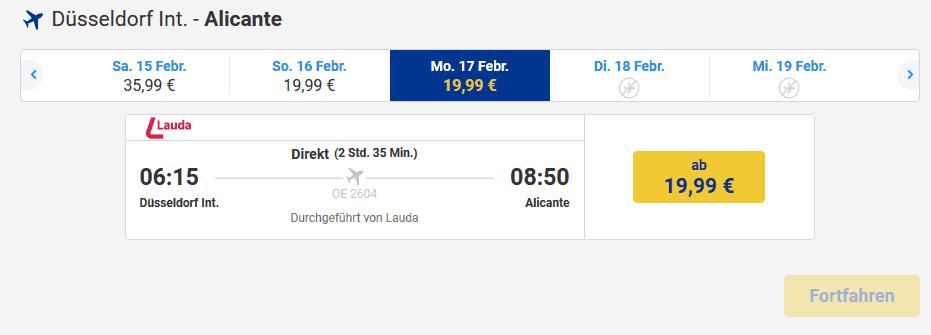 Screenshot Deal Alicante Flug ab 19,99€ Flüge nach Spanien Billig buchen