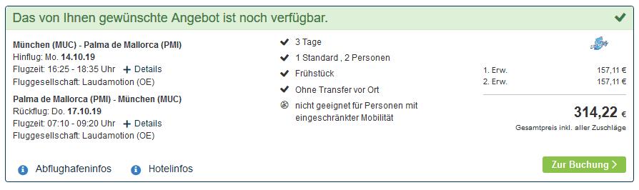 Screenshot Deal Arenal Closing - Pauschalreise nur 157,11€ Mallorca Kurztrip