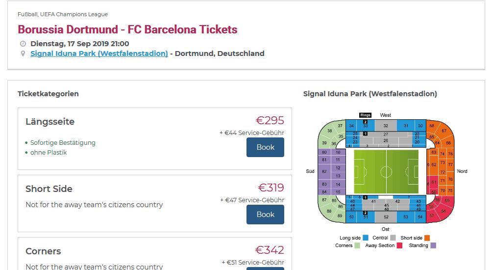 Screenshot Deal BVB Barcelona nur 295,00€ - Champions League Tickets 1. Spieltag