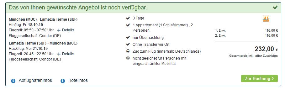 Screenshot Deal Corigliano Calabro Urlaub nur 116,00€ - Kalabrien 4 Sterne Pauschalreise