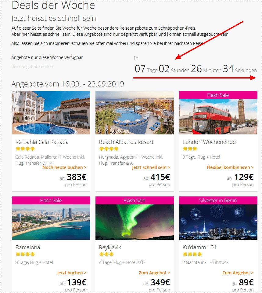 Screenshot Deal - Deals der Woche Reiseangebote lastminute.de