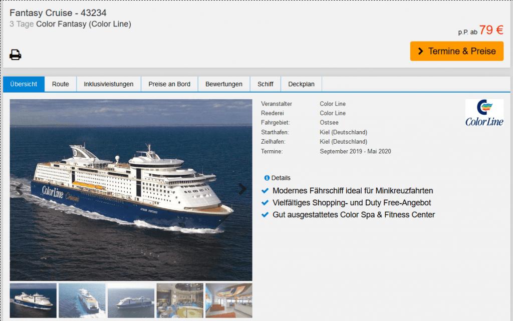 Screenshot Deal Kiel Minikreuzfahrt nach Oslo nur 79,00€ 3 Tage Ostsee