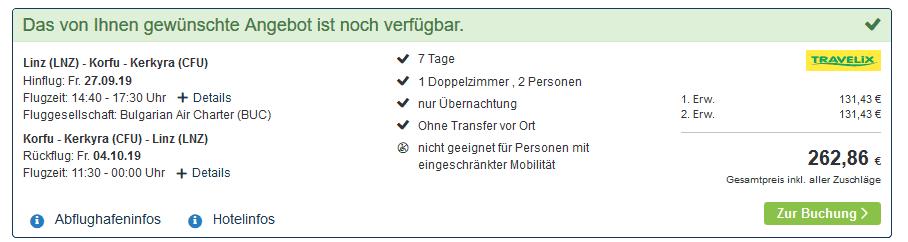 Screenshot Deal Korfu Lastminute - nur 131,43€ die Woche Kavos Inseltraum