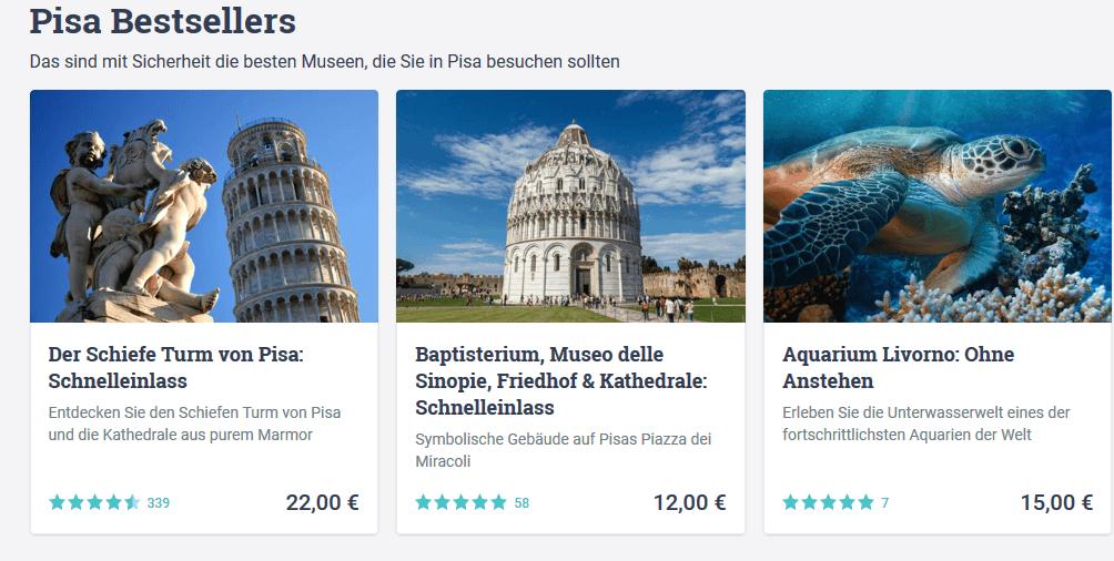 Städtereisen Pisa besten Tourangebote in der Stadt zum Tiefpreis - Screenshot