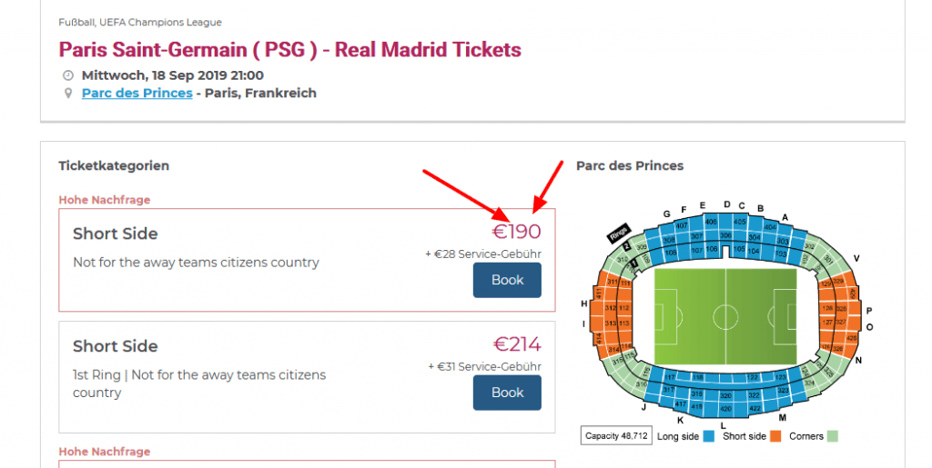 Screenshot Deal - UEFA Champions League Tickets