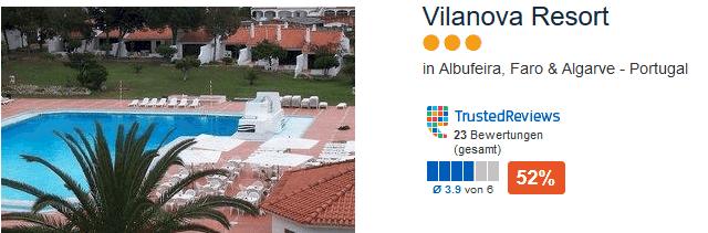 Vilanova Resort drei Sterne Portugal Urlaub an der Südküste zum Tiefpreis