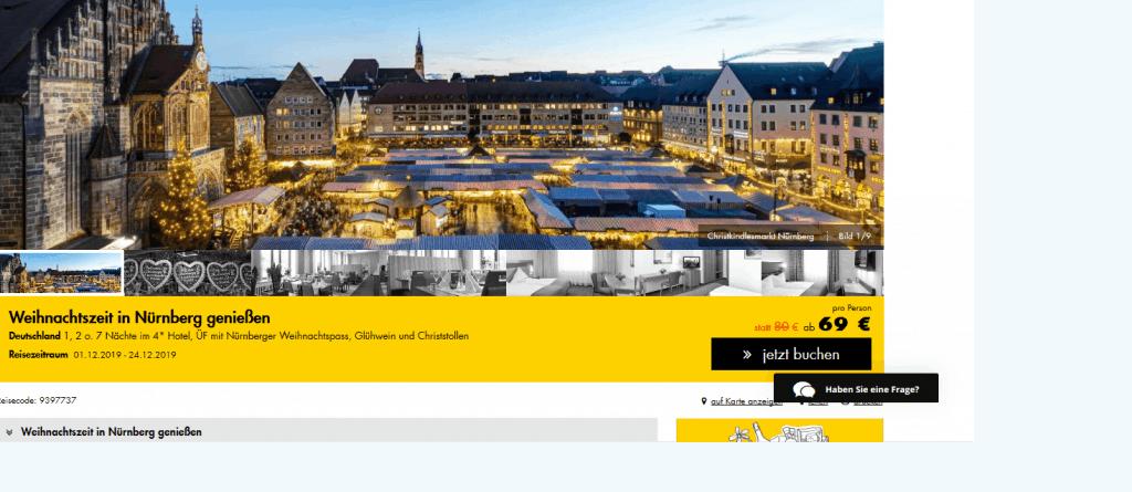 Nürnberg mit Weihnachtspass - 4 Hotel nur 69,00€ Christkindlesmarkt
