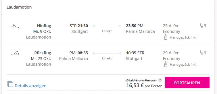Screenshot Deal 2 Woche Mallorca - Flüge nur 16,53€ Balearen Urlaub