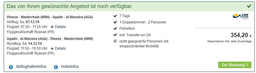 Screenshot Deal 7 Nächte Agadir - Pauschalreise nur 177,10€ Marokko