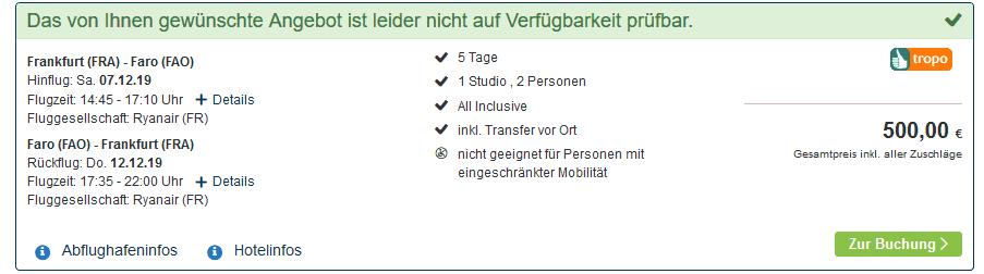 Screenshot Deal Albufeira All Inclusive - nur 250,00€ 4 Sterne Pauschalreise