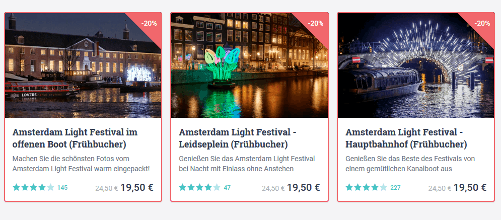 Screenshot Deal Amsterdam Light Festival - Bootstour 19,50€ 20% Frühbucher Rabatt