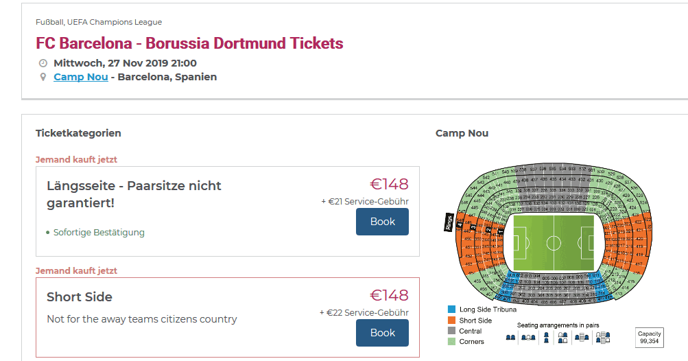 Screenshot Deal Barcelona vs. Dortmund - nur 148,00€ das Ticket Champions League