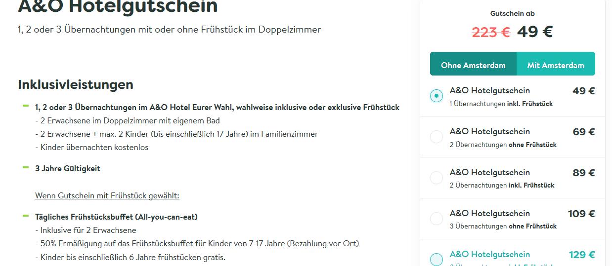 Screenshot Deal Städtetrips für 2 - nur 18,17€ die Nacht Auswahl 24 europäische Städte