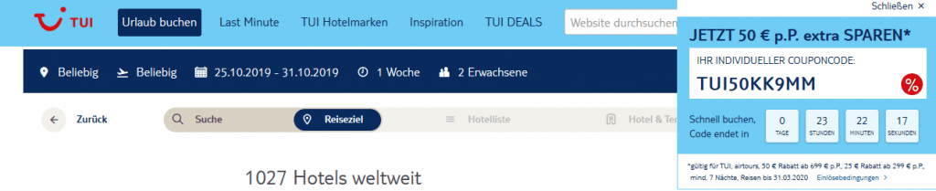 Screenshot Deal TUI Coupon des Tages - 100,00€ Rabatt auf Pauschalreisen
