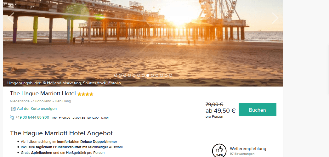 Screenshot Deal The Hague Marriott Hotel - 4 Sterne nur 49,50€ Den Haag Urlaub