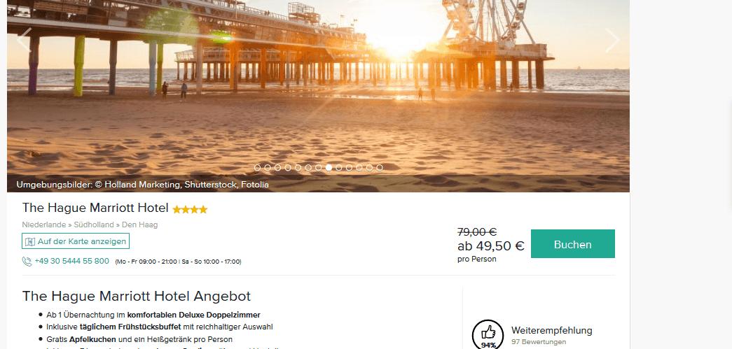 Screenshot Deal The Hague Marriott Hotel - 4 Sterne nur 49,50€ Den Haag Urlaub