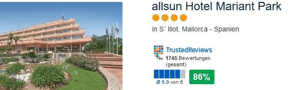 allsun Hotel Mariant Park 86% positive Bewertungen direkte Strandlage in S`Illot