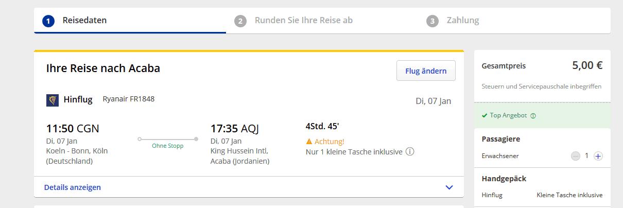 Akaba Flüge nur 5,00€ - Flug nach Jordanien Billigflug