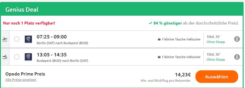 Biligflüge nach Budapest - Hin- & Rückflug nur 14,23€ - Screenshot