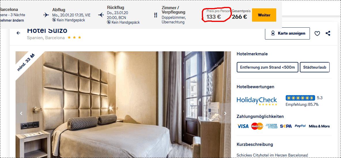 Hotel Suizo - Städtereise Barcelona nur 133,00€ 3 Nächte Lufthansa