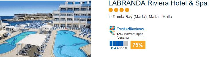 LABRANDA Riviera Hotel & Spa - 4 Sterne Hotel am Ramla Bay in Marfa auf der Insel Malta im Mittelmeer