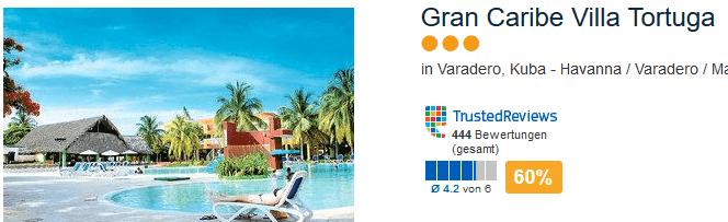 Schnäppchen Reise nach Kuba in das drei Sterne Hotel Gran Caribe Villa Tortuga