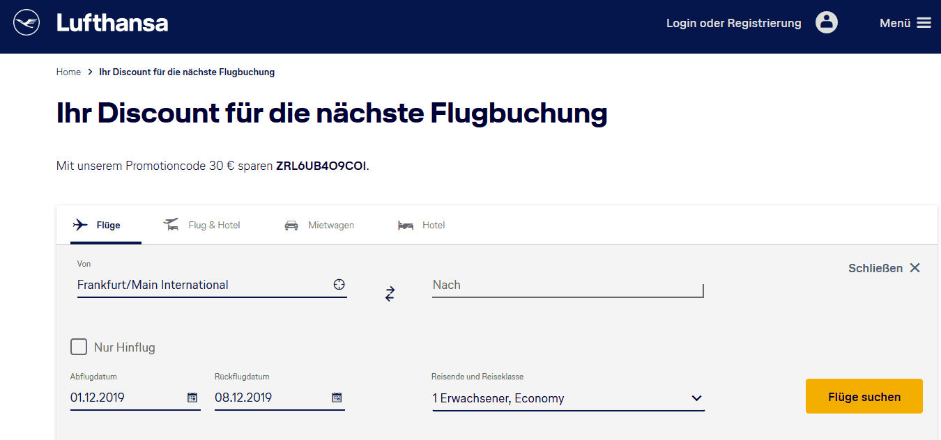 Screenshot Aktionscode Lufthansa Gutschein - 30,00€ Rabatt Aktionscode