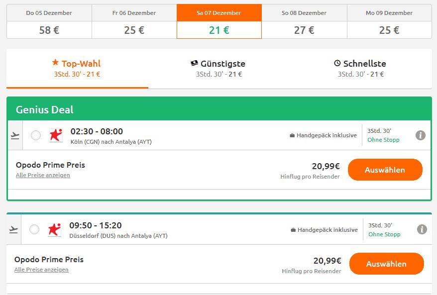 Screenshot Deal Flug Antalya - nur 20,99€ Ab Düsseldorf Direktflug