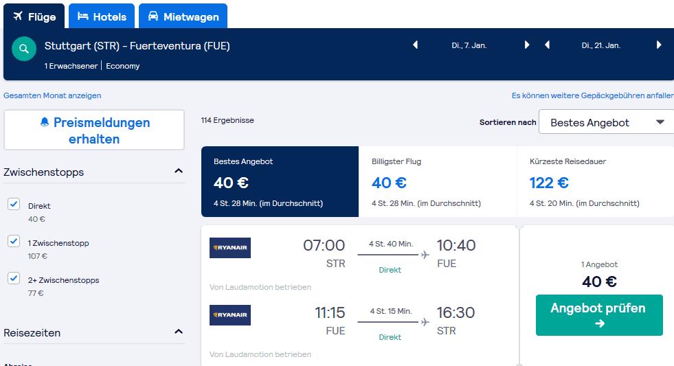 Screenshot Deal Fuerteventura Schnäppchen - 143,00€ 2 Wochen Urlaub
