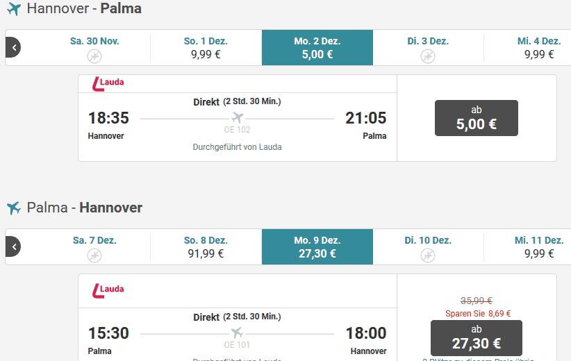 Screenshot Deal Mallorca im Dezember - nur 87,90€ die Woche Flug & Hotel