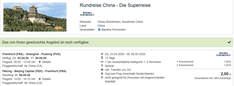 Screenshot Deal Superreise China - Rundreisen ab 1,00€ 13 Tage