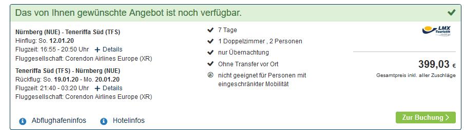 Screenshot Deal Teneriffa Urlaub - Pauschalreise ab 199,00€ 1 Woche