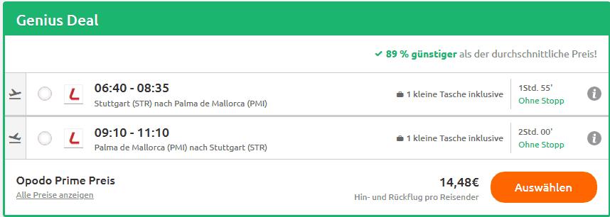 Screenshot - Flüge nach PMI Hin- & Rückflug nur 14,48€
