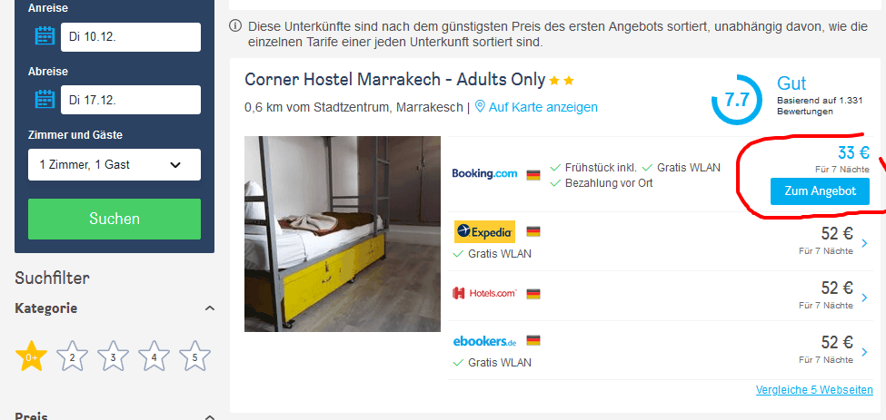 Unterkunft in Marokkos Metropole ab 4,75€ die Nacht