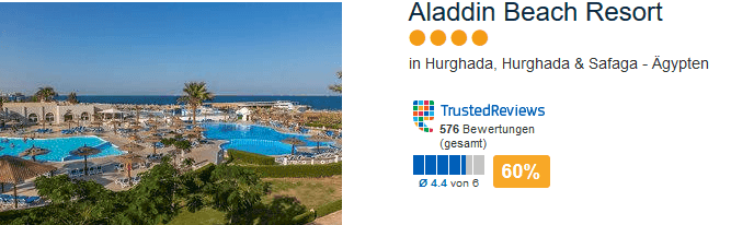 Bewertung und Erfahrung liegen bei circa 70% liest euch alles durch bei Trusted Reviews - Aladdin Beach Resort 4 Sterne