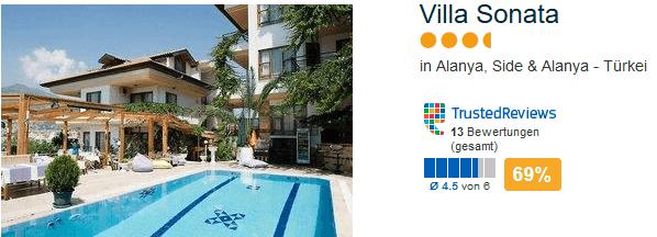Drei Sterne Hotel - Türkei Urlaub 69% positive Bewertung