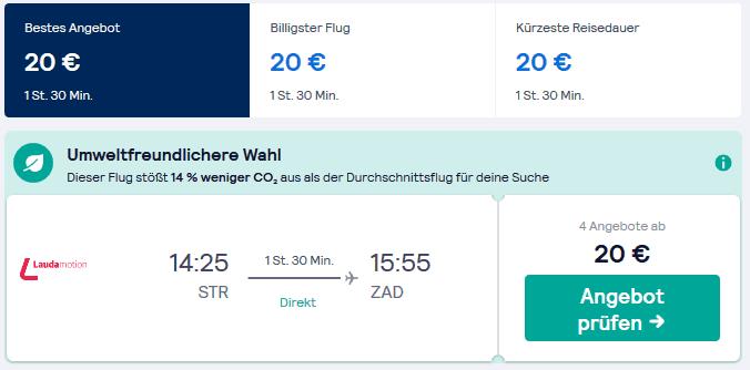 Günstige Flüge von Stuttgart nach Zadar auf Skyscanner - Screenshot