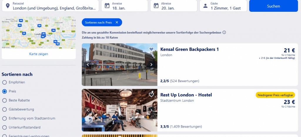 Hotel Suchergebnisse für London und Umgebung England Großbritannien - Screenshot